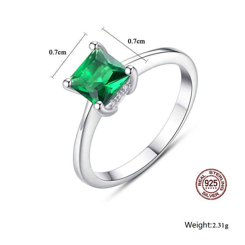 Classic Square Green Gemstone Ring