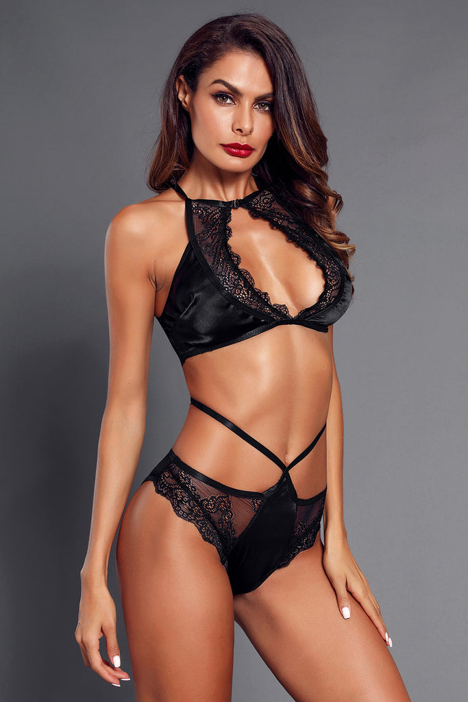 Black Lace Trim Strappy Cutout Lingerie Set