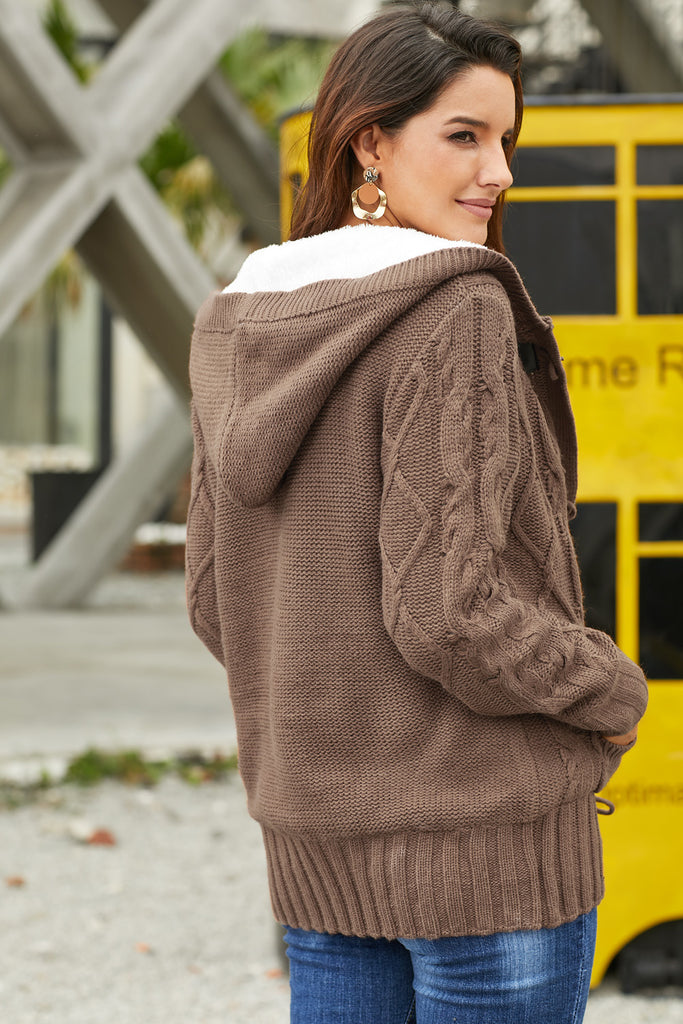 Khaki Fur Hood Horn Button Sweater Cardigan