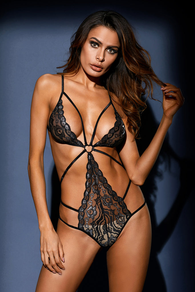 Black Heart Lace Strappy Teddy