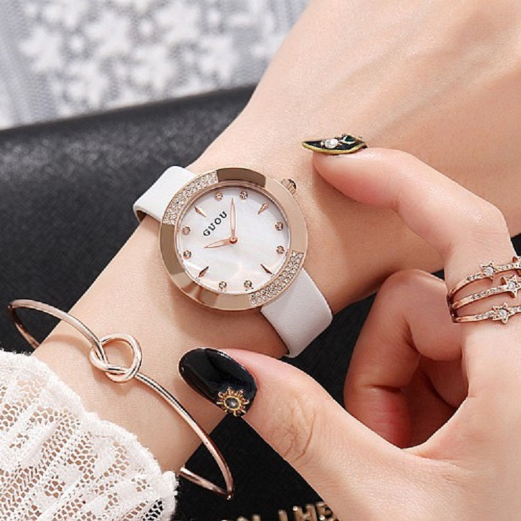 Women's Watch Round Dial Ultra-thin leather Strap simple watch