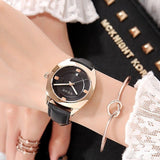 Women's Watch coffee color oval calendar dial leather strap quartz simple watch