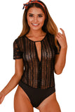 Black Button Front Sheer Floral Lace Bodysuit