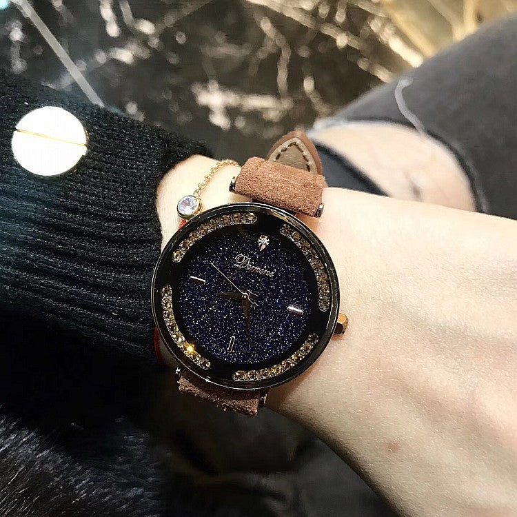 Caramel Starry Dial With Rhinestone Women's Watch