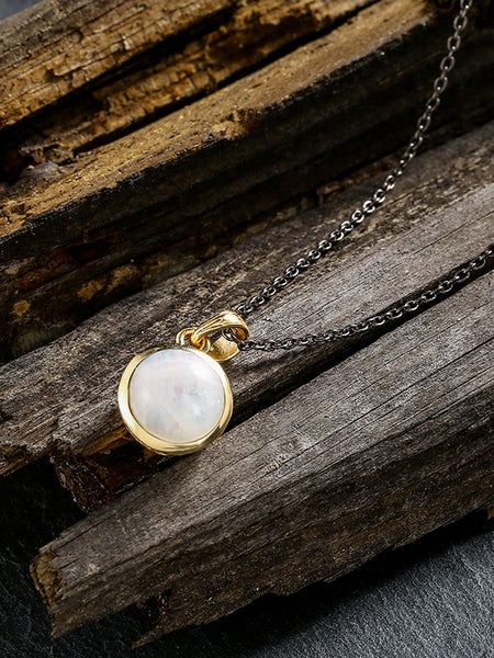 White Natural Moonstone Necklace