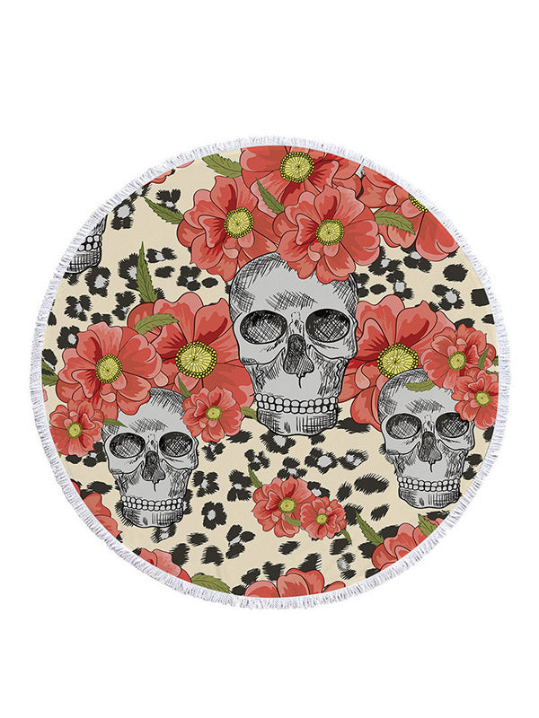 Skull Head Ultra Large Circular Beach Towel&Yoga Pad