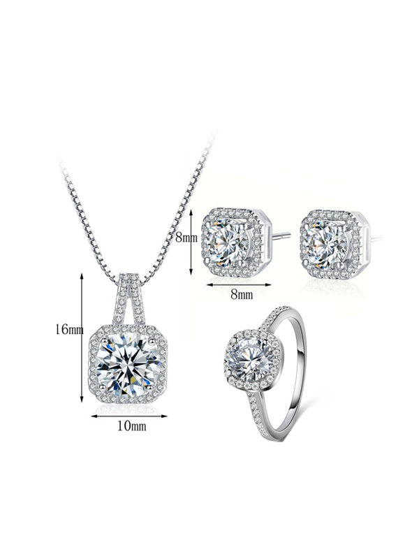 Square Necklace&Earring Set