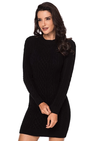 Slouchy Cable Sweater Dress