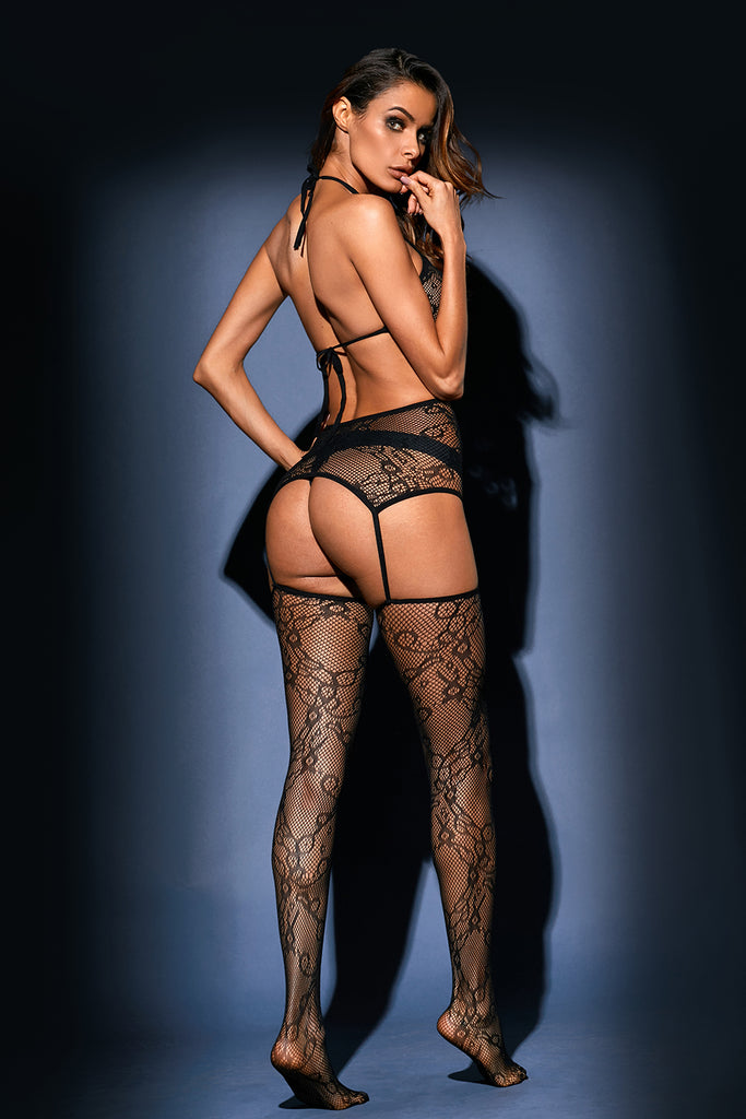 Black Triangle Cups Lace Bodystocking