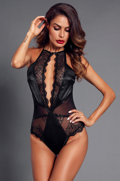 Black Lace Satin High Neck Bodysuit