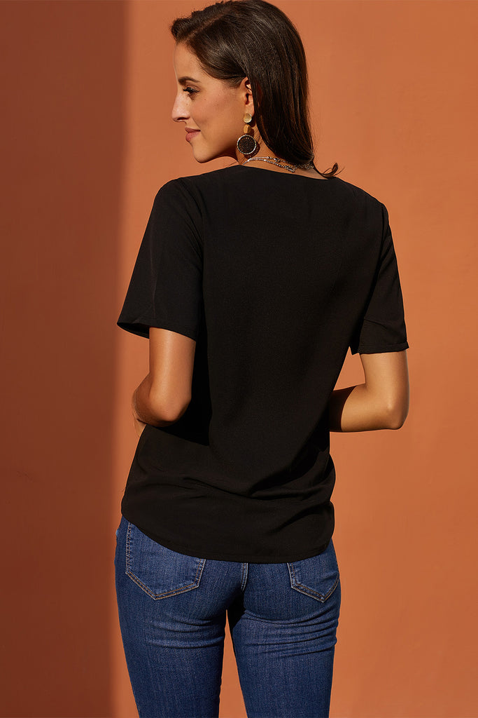 Black Short Sleeve Button Detail Loose Fitting Chiffon Blouse