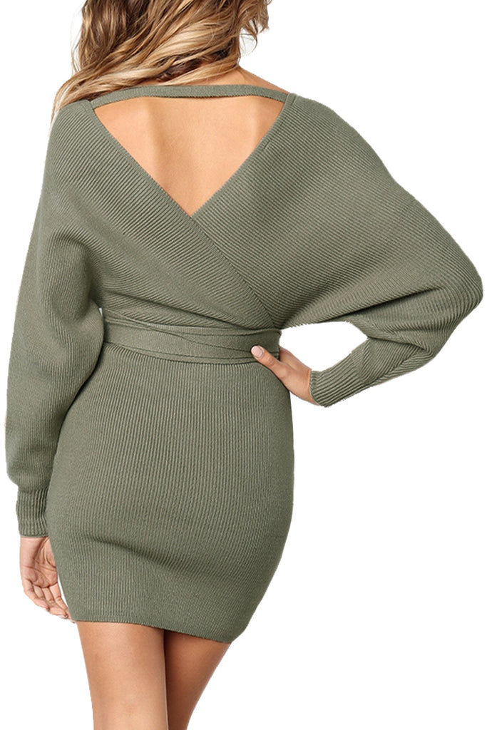 Olive Long Sleeve V Neck Tied Sweater Dress