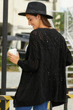 Black Hollow Out Open Front Cardigan with Pockets