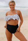 White Polka Dot Black Retro Boho Flounce High Waist Swimsuit