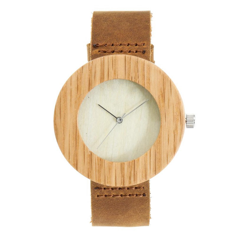 Simple Dial Without Scale Wooden Watch