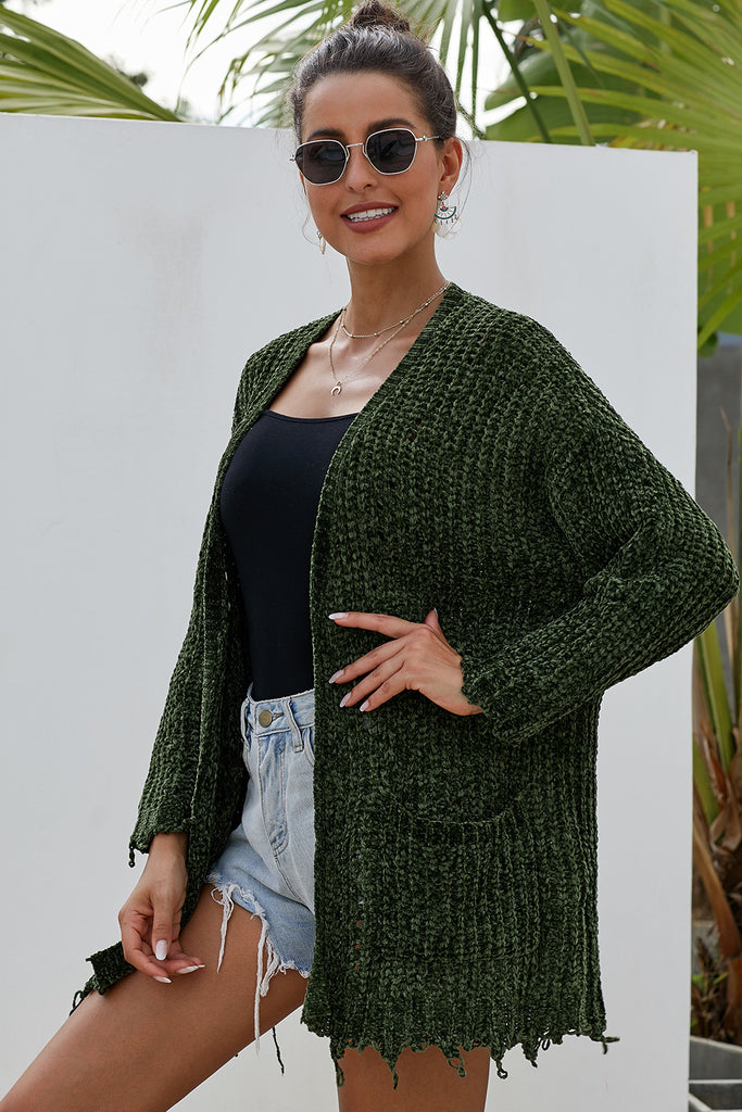 Green Chenille Knit Destroyed Cardigan Sweater