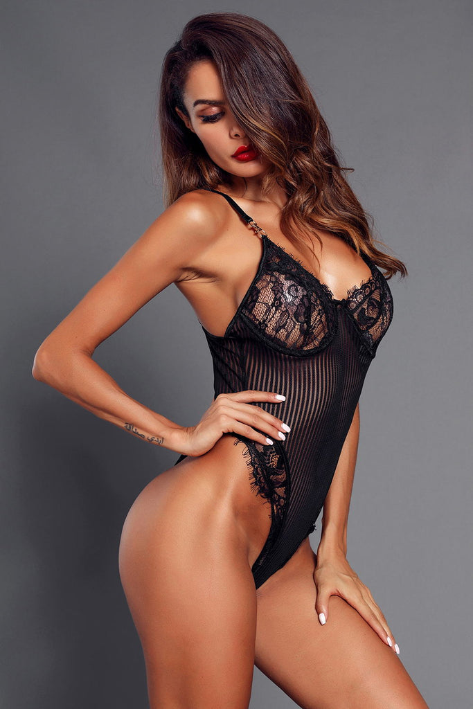 Black Lace Bust High Cut Bodysuit for Women