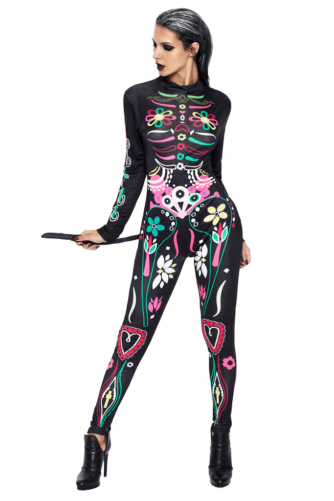 Sugar Skull Cat Halloween Party Costume