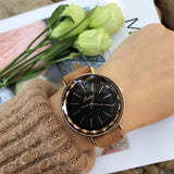 Rhombus-shaped Leather Strap Women's Watch