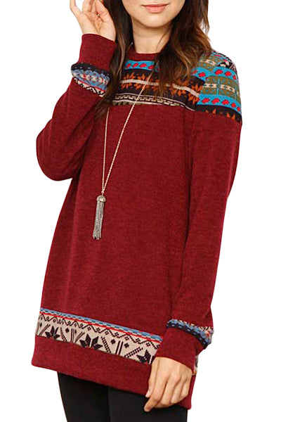 Burgundy Geometric Detail Casual Sweater