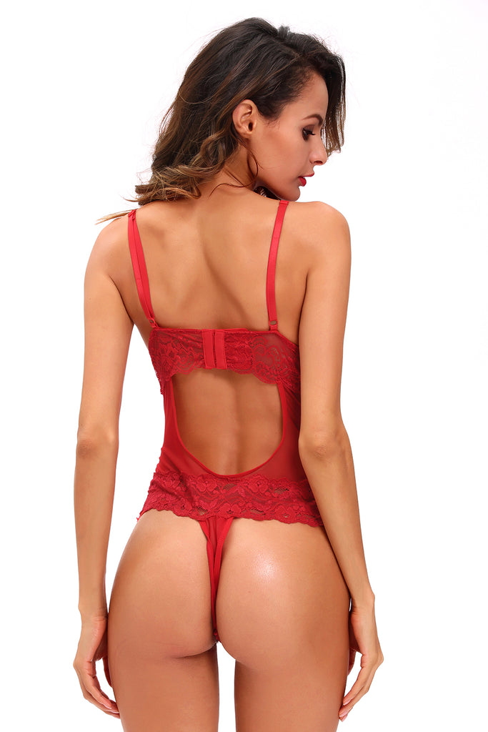 Red Scalloped Lace Accent Peek-a-boo Teddy Lingerie