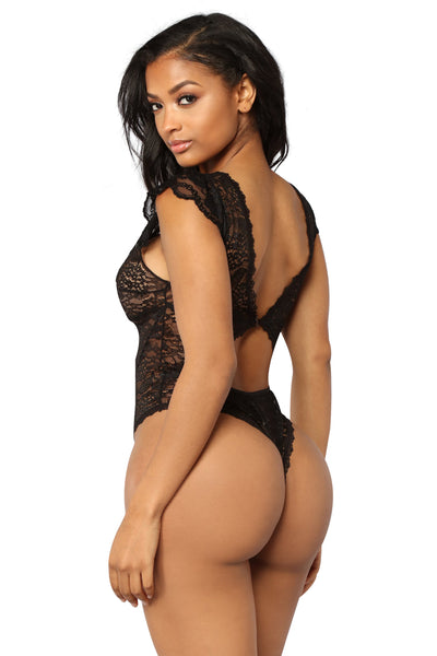 Black Sheer Floral Lace Teddy