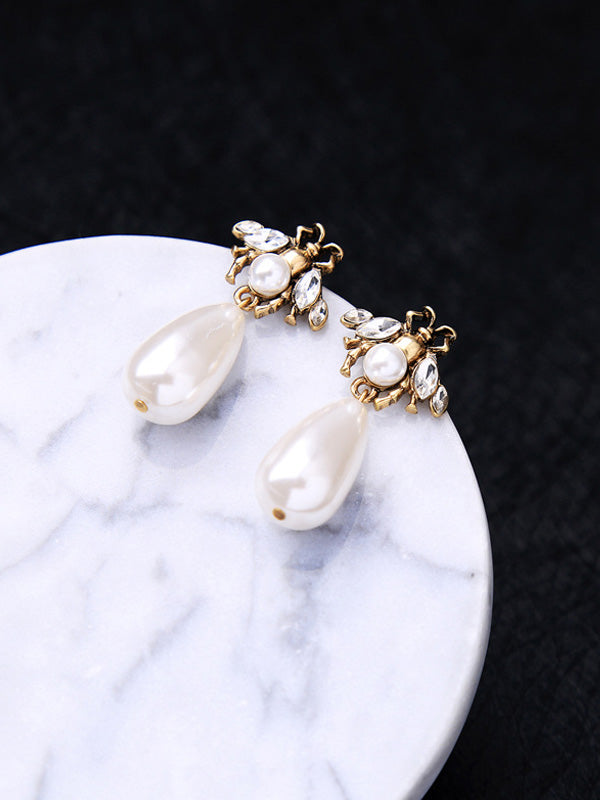 Minimalist Pearl Insect Earrings