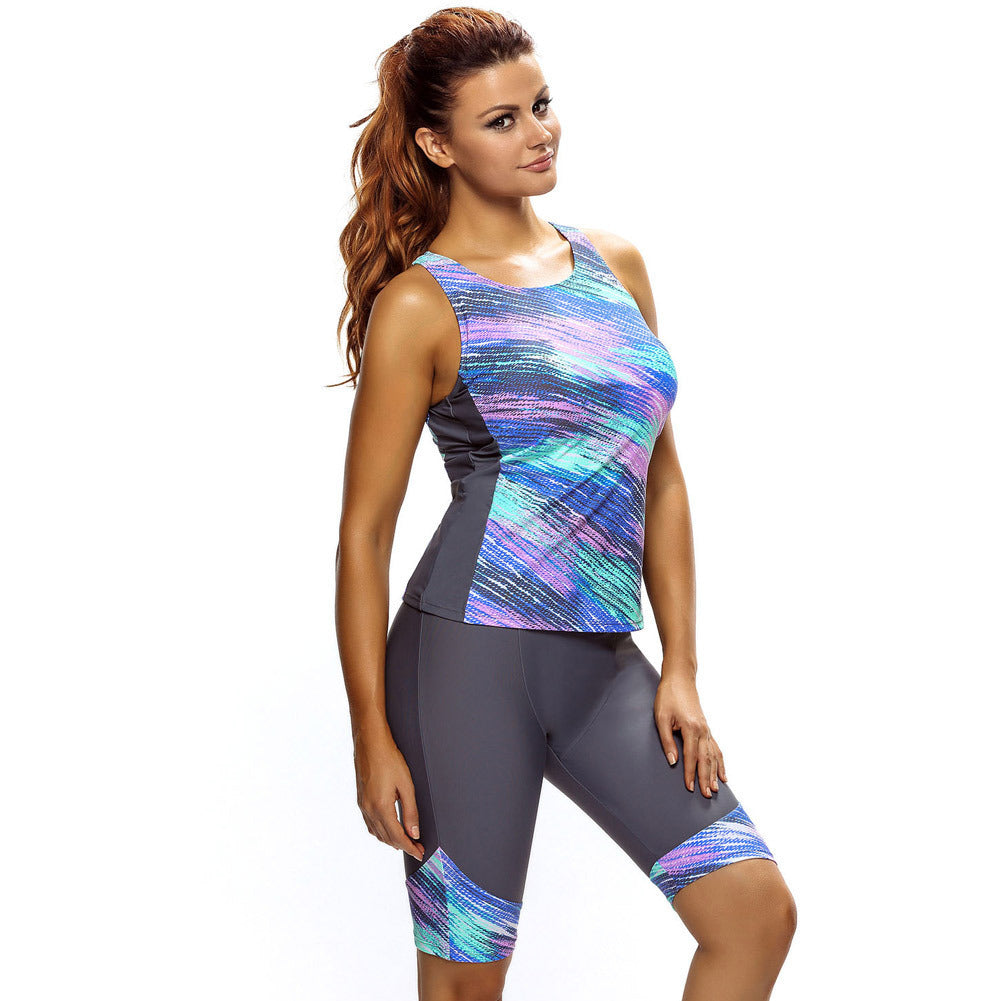 Gray-green stitching sleeveless diving swimming split top