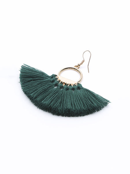 Hand-made fan-shaped Tassel Earrings