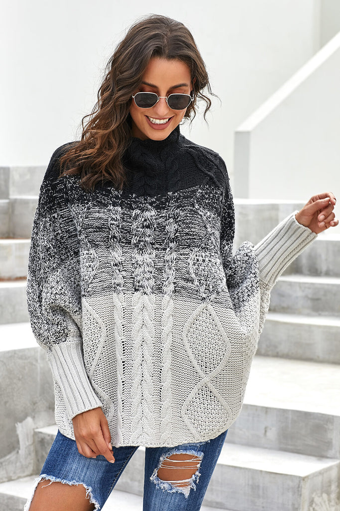 Black Ombre Thick Knit Poncho Style Sweater