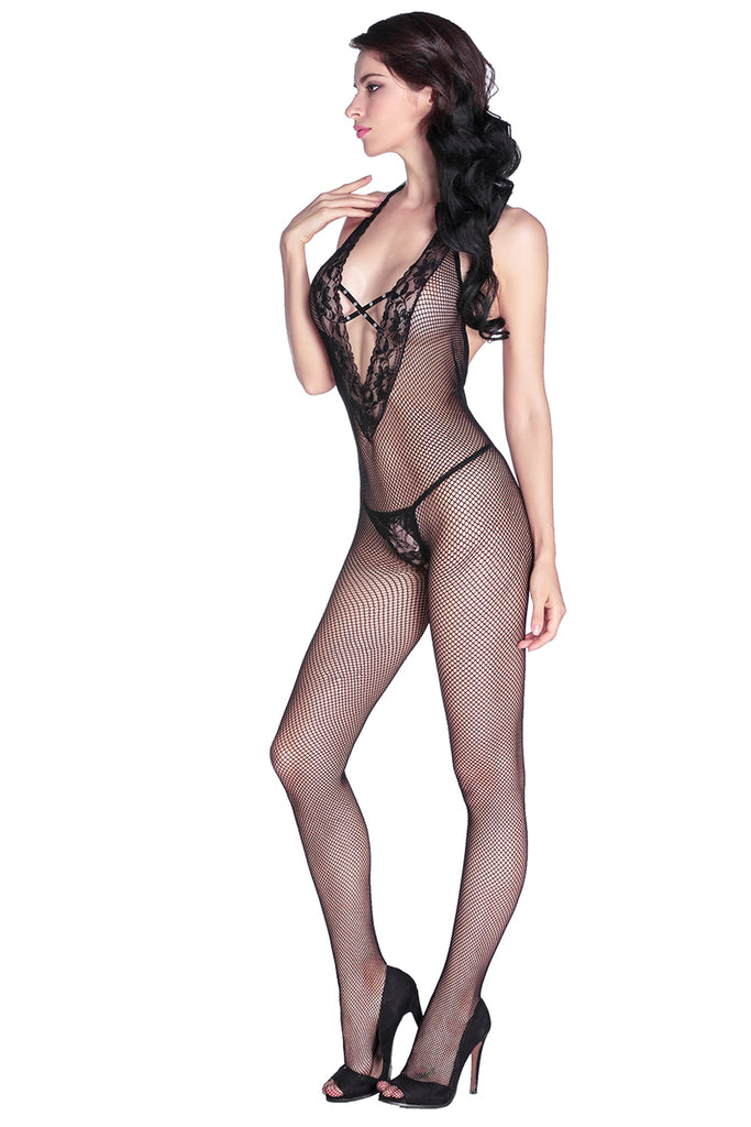 Stretch Fishnet Halter Bodystocking
