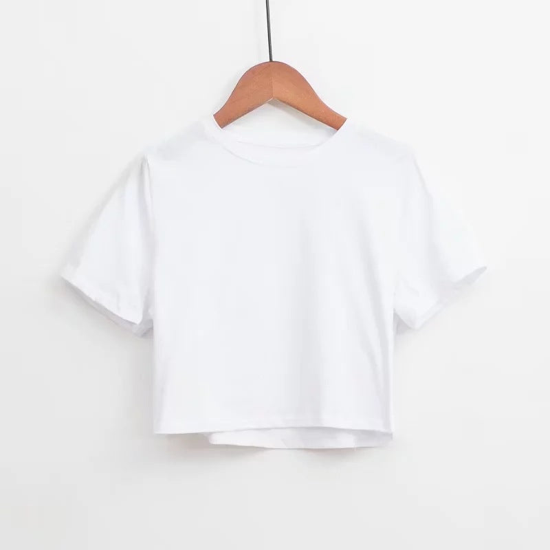 Fashion summer loose leak navel solid short sleeve women's T-shirt