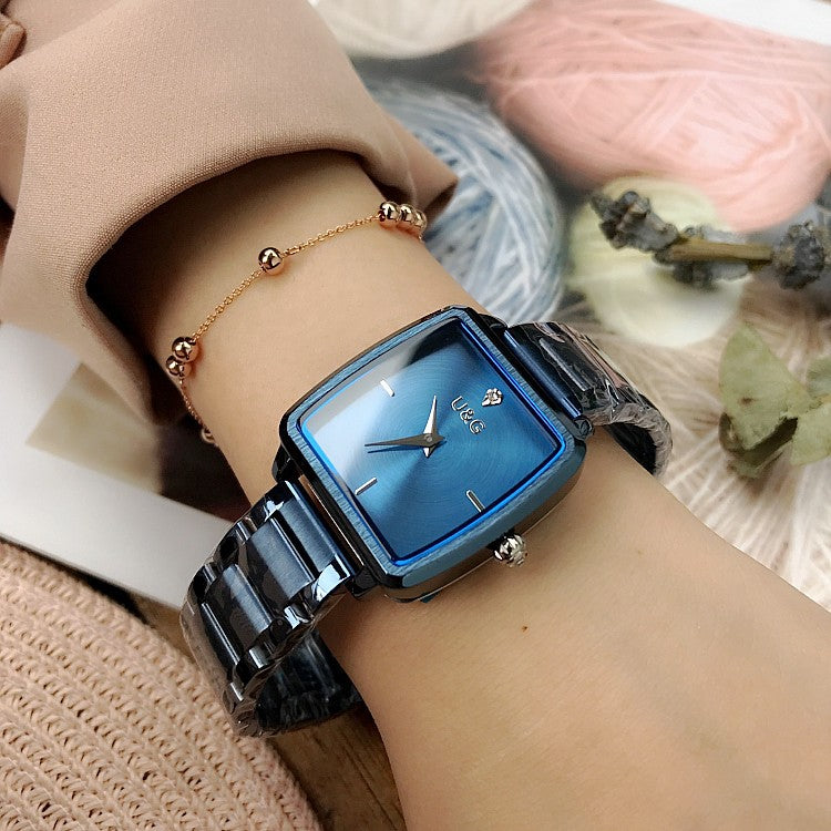 Square Pattern Stainless Steel Strap Women's Watch
