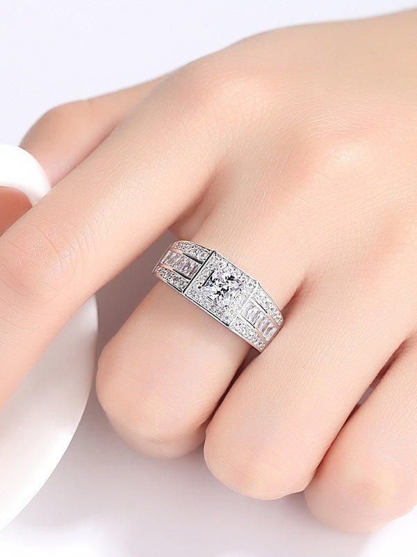 Zallure Luxury Clear Square AAAA Cubic Zircon Ring White gold Plated