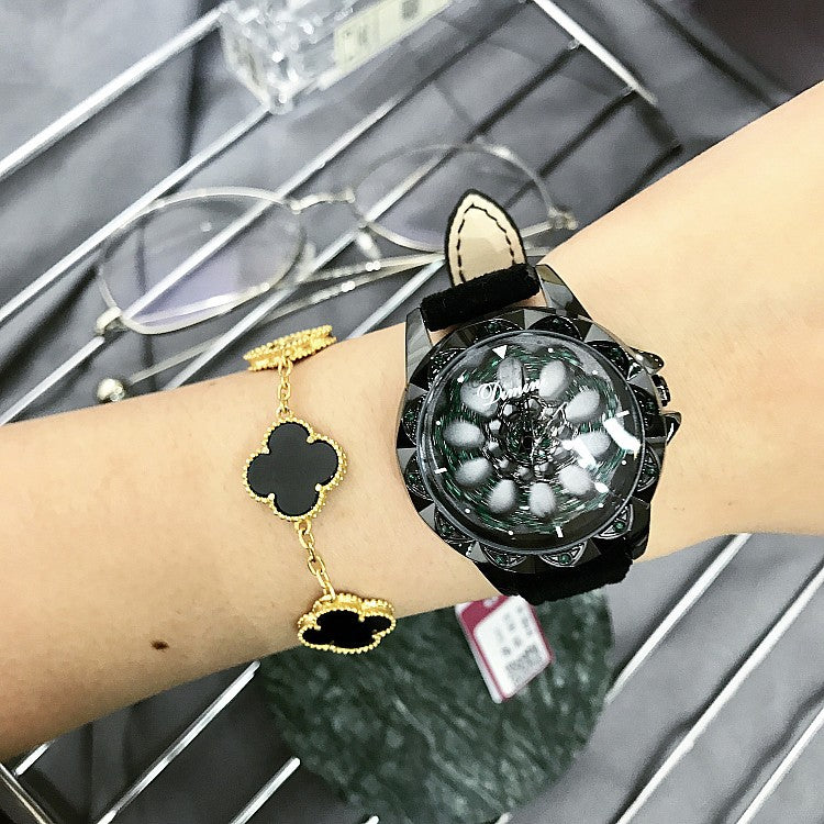 Rotatable Fur Strap Women's Watch