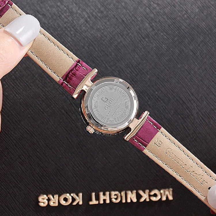 Women's Watch Rhombus-shaped Mirror purple dial leather strap elegant watch