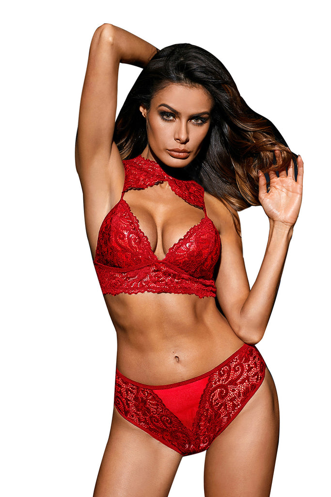 Love Affair Bralette Set in Red