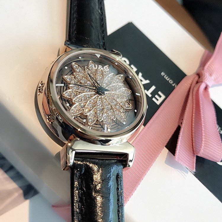 Women's Watch Petal Pattern Chassis leather strap elegant watch