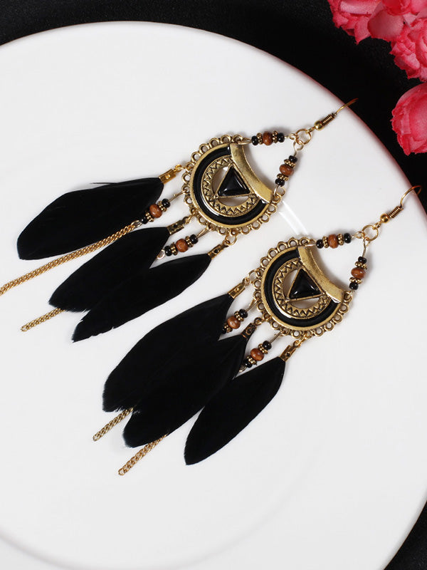 Eyes Pattern Feather Earrings