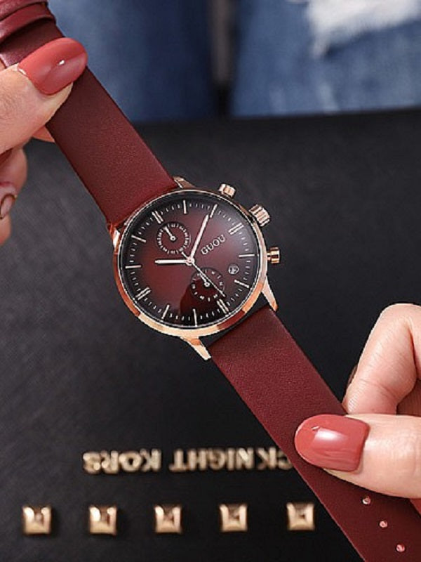 Multifunctional Leather Watch Male&Female