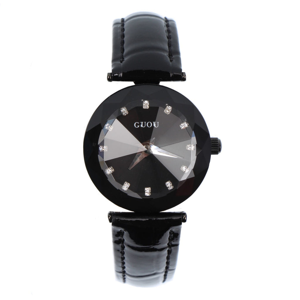 Women's Watch Individual Rhombus Mirror black large dial leather strap elegant watch