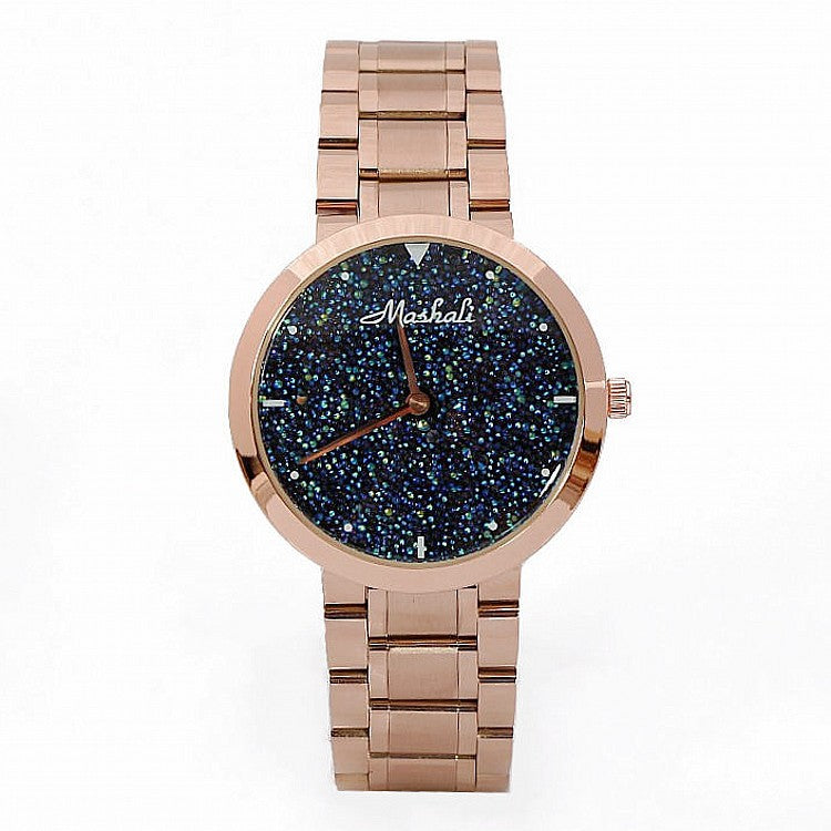 Women's Watch Blue starry embellished dial stainless steel strap elegant watch