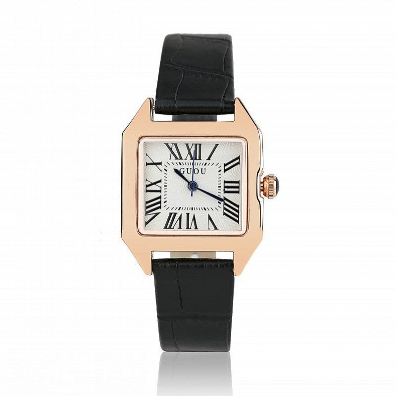 Women's Watch Retro Roman Numeral Scale Square dial leather strap elegant watch