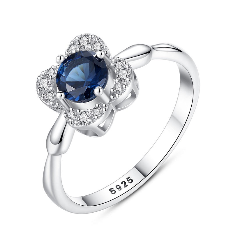 Flower-shaped With Sapphire Ring