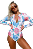 Pink Blue Peony Long Sleeve Zip Front One Piece Swimsuit