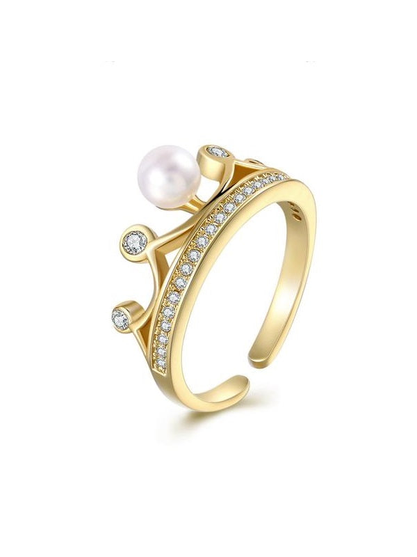 Insert Pearl Crown Pattern Opening Ring