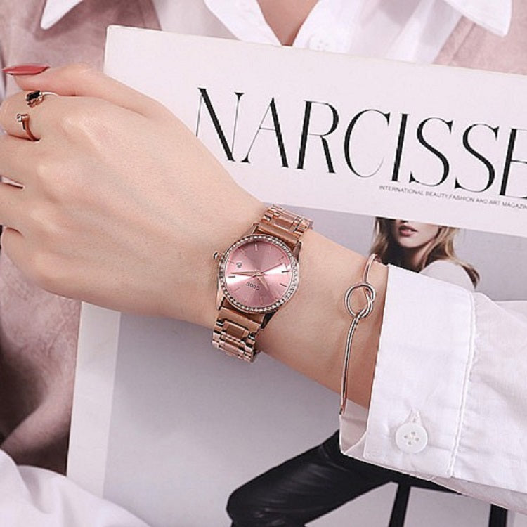 Rose Gold Stainless Steel Strap Women's Watch With Calendar