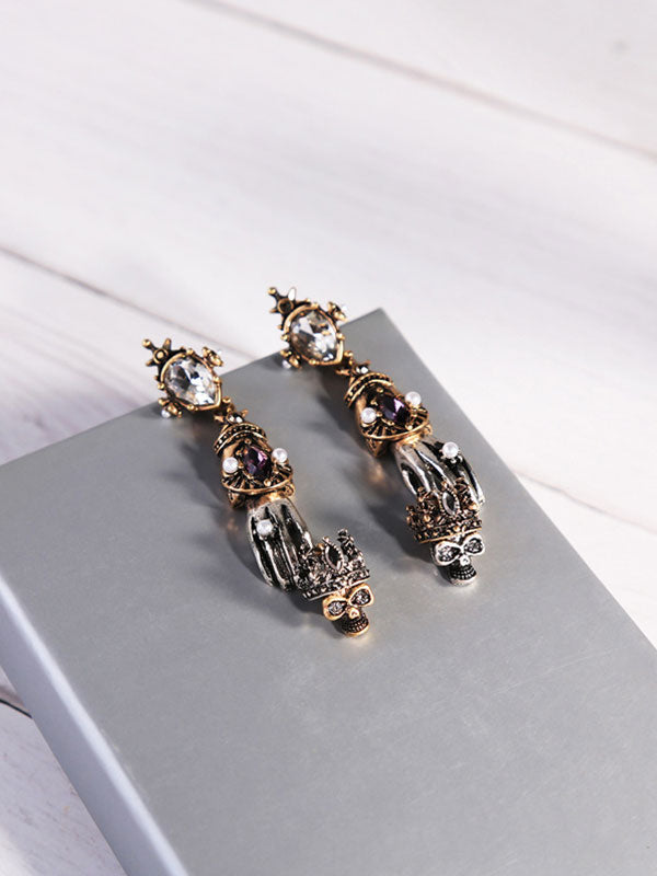Gothic Hand&Skull Long Earrings