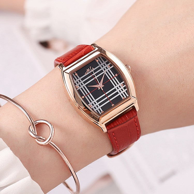 Vintage Barrel Pattern Stripe Dial Women's Watch