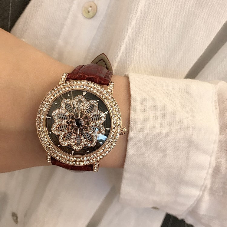 Snowflakes Pattern Rotatable Women's Watch